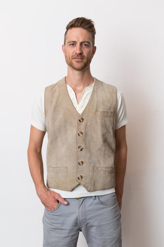 Vintage Men's Leather Vest - Medium 1970's Tan Beige Leather Primitive handmade Vest - Indian Jones Safari Vest