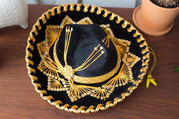 Vintage Sombrero - Small Black Velour Mexican Hat