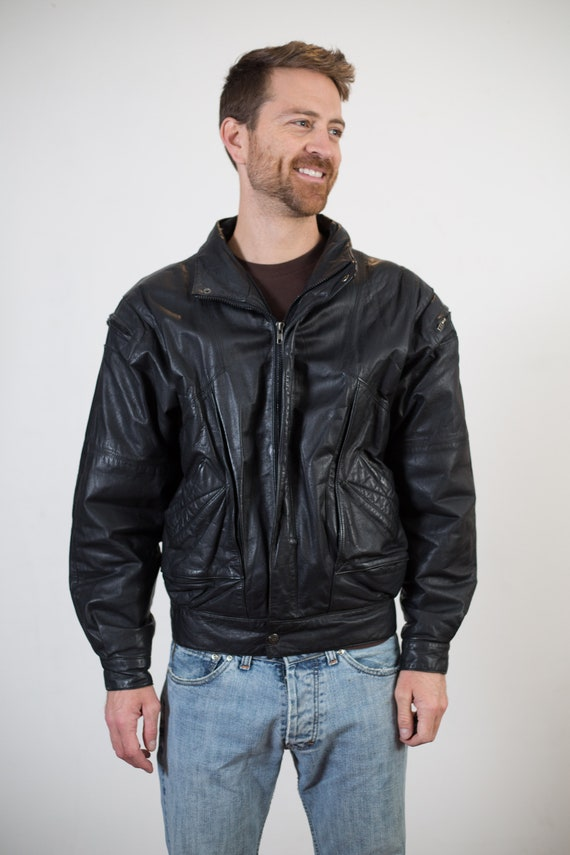 Vintage Leather Jacket - Men's Medium Size Black Leather Biker Motorcycle Jacket - Bomber Jacket - College Varsity Coat with Zipper