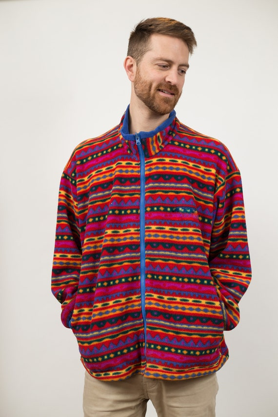 Vintage Fleece Jacket - Men's Womens Southwest Boho Western Country Rainbow Colorful Oversized Sweater - XL Size Geometric Allover Pattern