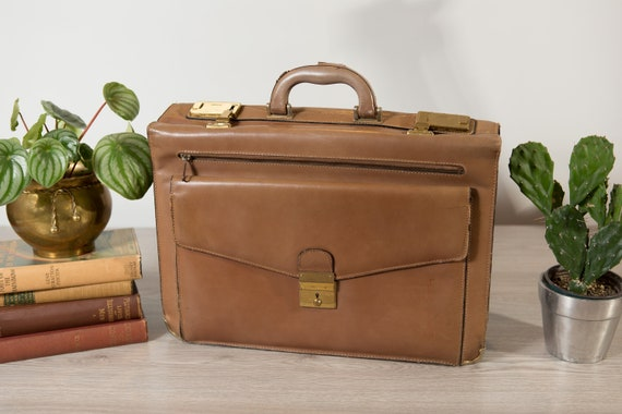 Vintage Expandable Briefcase - Light Brown Leather Retro Carrying Office Style Bag for Travelling - Laptop Bag - Paper Storage