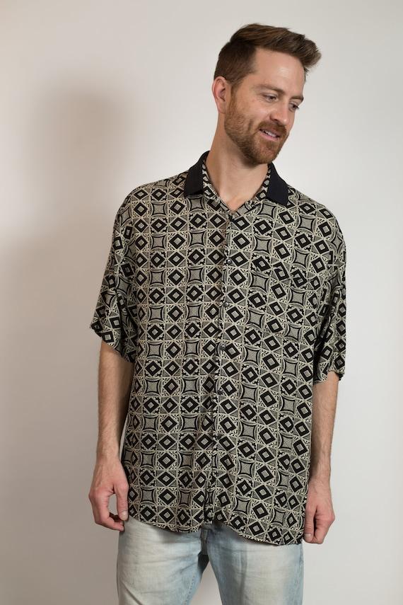 Men's Golf Shirt - Vintage X-Large Size Blue-Greyish 90's Short Sleeve Polo Tee - Soft Stretchy Summer Oversized Shirt