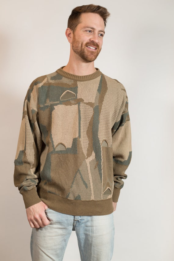 Vintage Knit Sweater - Men's Medium Size Beige, Toupe Green Abstract Cotton Sweater - Retro Populuxe Long Sleeve oversized Pullover Jumper