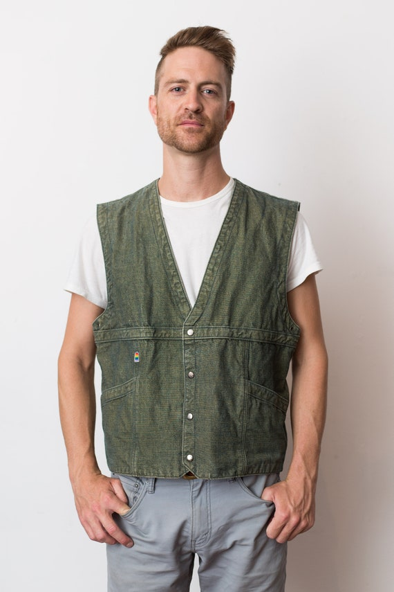 Vintage Denim Vest - Men's Green Jean Rainbow Button Up Hunting Style Jacket Vest