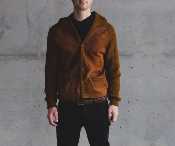 Vintage Brown Cardigan - Medium Size Men's Canadian Tundra Knit Sweater with Suede - Medium Size Christmas Button up jumper for Him