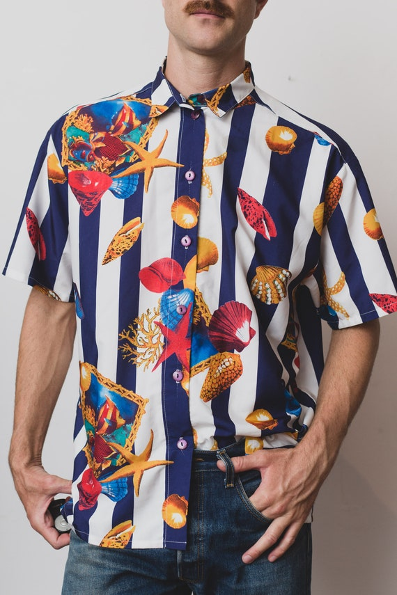 Short Sleeved Blue Baroque Fresh Button Price Beach Oxford Seashell White up Vintage Large Shirt Striped Shirt and Beach Boho Summer qwp7PB