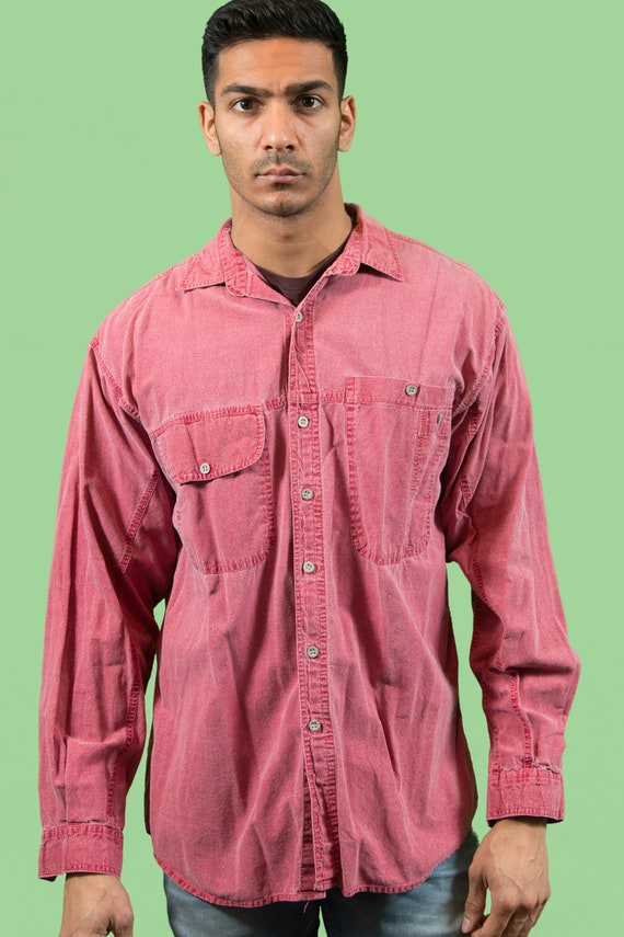 Vintage Pink Denim Shirt - Large Stone Washed Long Sleeved Button Up Worker's Shirt