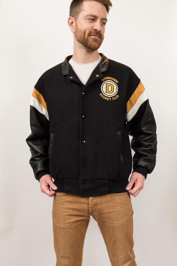 Vintage Varsity Jacket - Men's Medium Size Black Hockey  Bomber Jacket - Sporty Jock Sports Team University Hockey League Riverdale Coat