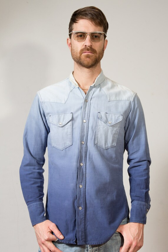 Vintage Denim Shirt Blue Ombre Faded Men's Long Sleeved Jean Shirt Casual Summer Button Down Oxford Mens Shirt