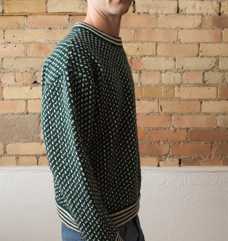Norwegian Fashion Vintage Men/'s Knit Roots Sweater Large Size Green Geometric Scandinavian Nordic Pullover Jumper