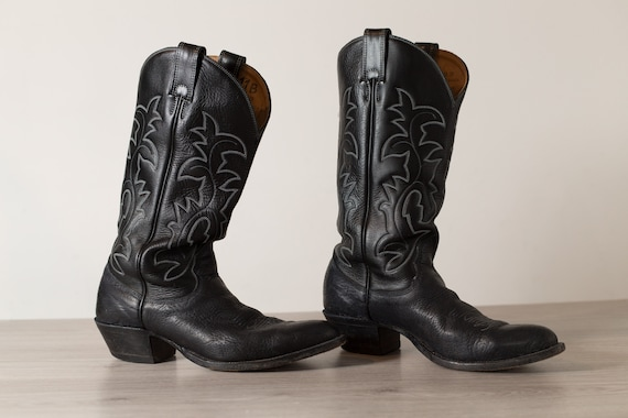 Vintage Cowboy Boots - 11B Men's Black Leather Western Horseback Riding Boots - Made in Canada