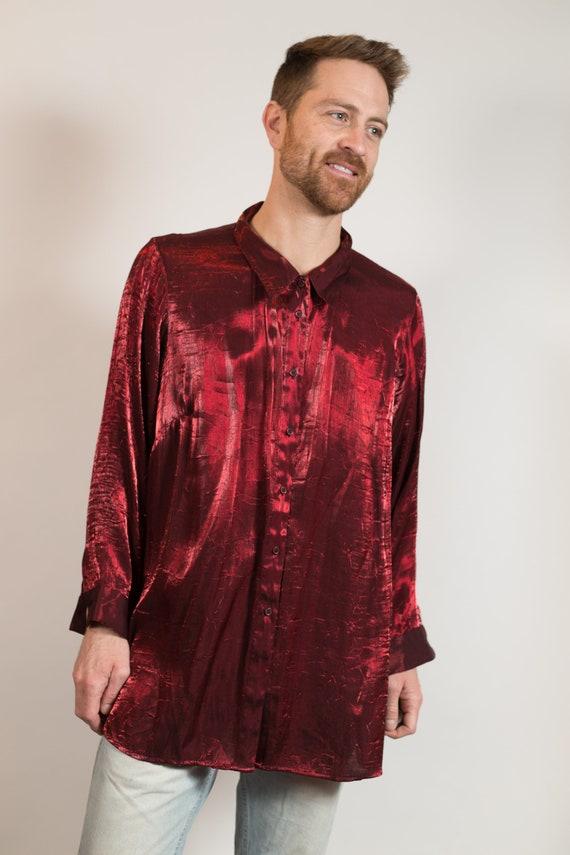 Metllic Shirt - Unisex Women's Shiny Red Blouse - Button up Party Nightlife Streetwear Reflective Fashion Shirt