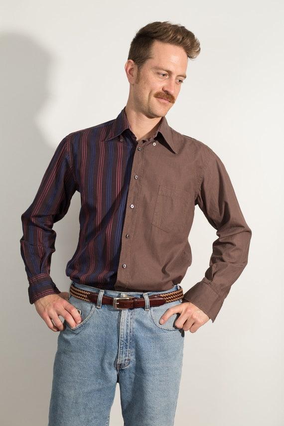Vintage Men's Dress Shirt - Split 2-tone Color Blocked Medium Size Brown and Purple Button up Shirt - Boho Modern Streetstyle Shirt