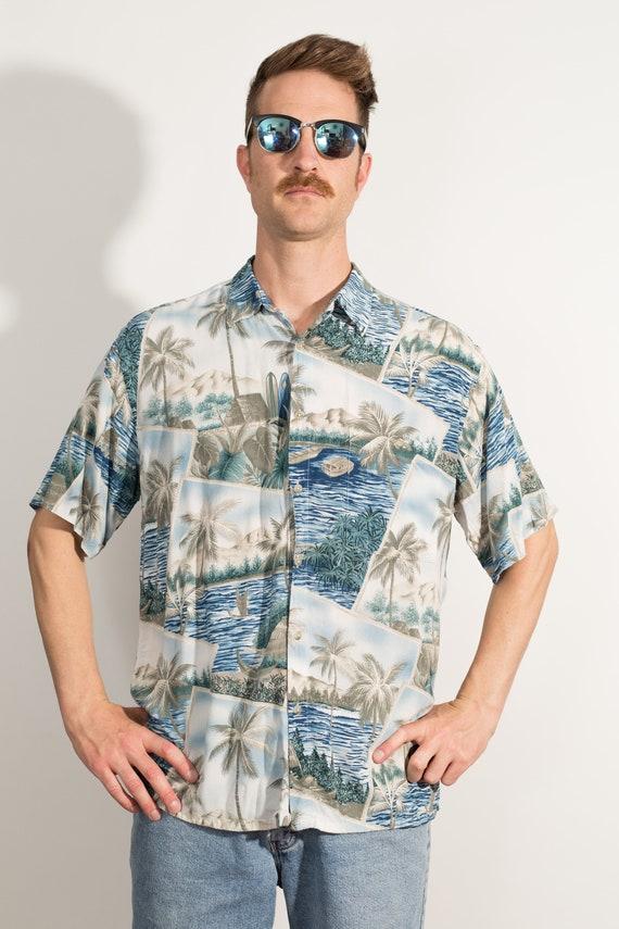 Vintage Blue Hawaiian Shirt - Large Size Men's Button up Casual Short Sleeved Palm Tree and Fauna Tiki Aloha Summer Tropical Beach Shirt