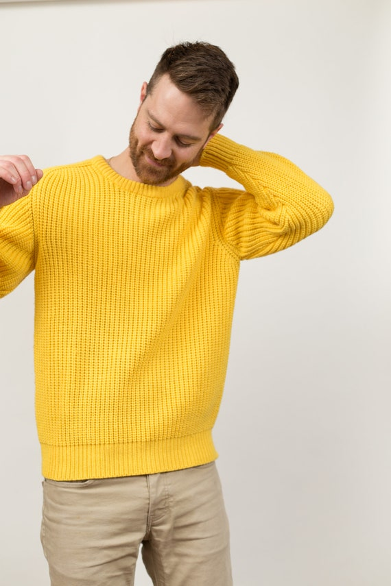 Vintage Yellow Knit Sweater - Unisex Women's or Men's Solid Knit Van Heusen Pullover - Long Sleeved Jumper