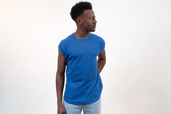 Vintage Mesh Shirt- Men's Medium Blue Indy Knit Athletic Tee - Vintage T-shirt - Made in USA