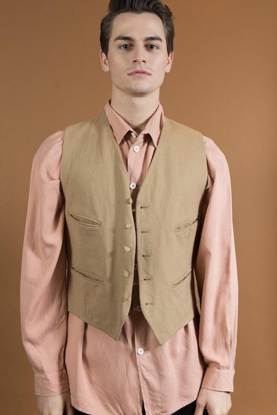 Vintage Wool Vest - Men's Medium Tan / Beige Colored Wool Vest - Indian Jones Safari Chic Vest by Dunn and Co