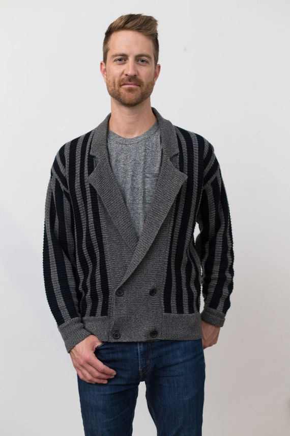 Vintage Men's Cardigan - Striped Grey and Black Small Size Geometric Pattern Button up Jumper for Him - Gift for Dad