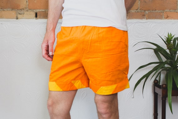 Vintage Beach Shorts - 80's Surf Shorts with Elastic Waist - Orange and Yellow Stripe Geometric Fresh Prince Adjustable Lightweight Men's