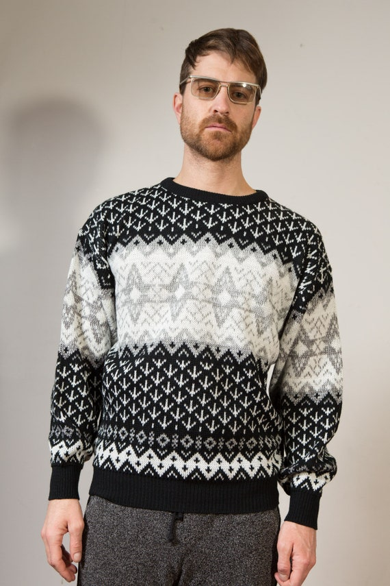 Vintage Monochromatic Sweater - Medium Grey, Black and White Pullover - Made in Korea - Geometric Pattern Preppy Sweater