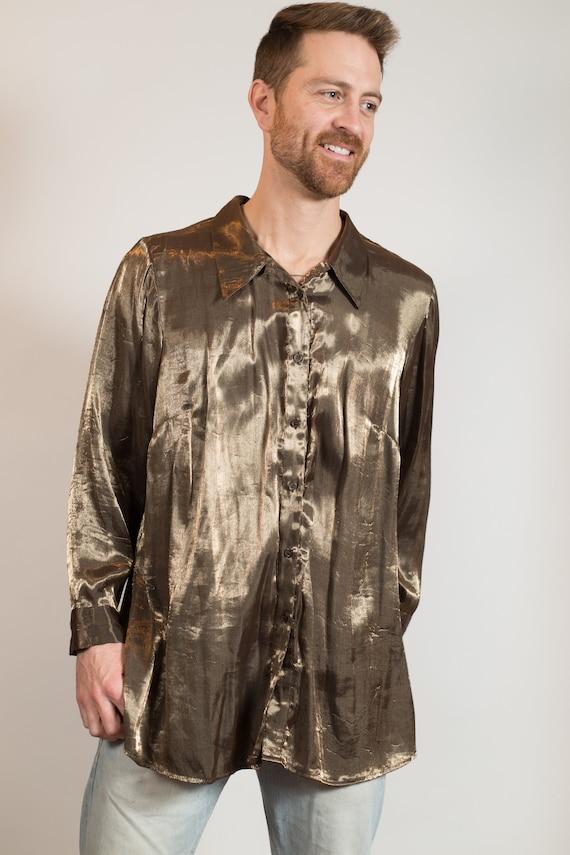 Metllic Shirt - Unisex Women's Shiny Bronze Blouse - Party Nightlife Streetwear Reflective Fashion Shirt