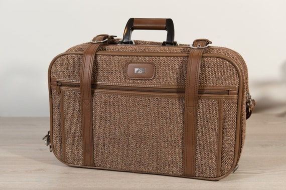 Vintage Overnight Bag - Brown Tweed Pattern, Faux Leather Dressy Retro Carry on Bag for Office, Travelling - Skyway Briefcase Bag