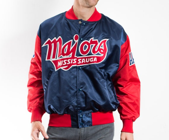 Vintage Varsity Jacket / Mens Mississauga Majors Bomber Jacket / Satin Red and Blue Sports Baseball Jacket