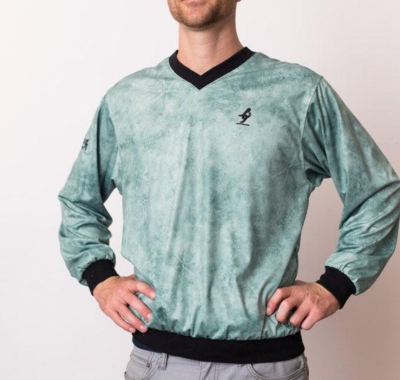 Vintage Sports Jacket - Mint Green Marbled Windbreaker - Men's Large V-neck Running Long Sleeved Coat