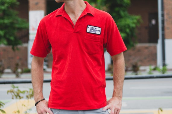 Vintage Men's Red Polo Shirt - Casual Short Sleeved Sporty Athletic Summer Beach Golf Shirt - Exactor Xpress Uniform Tee - Made in Canada