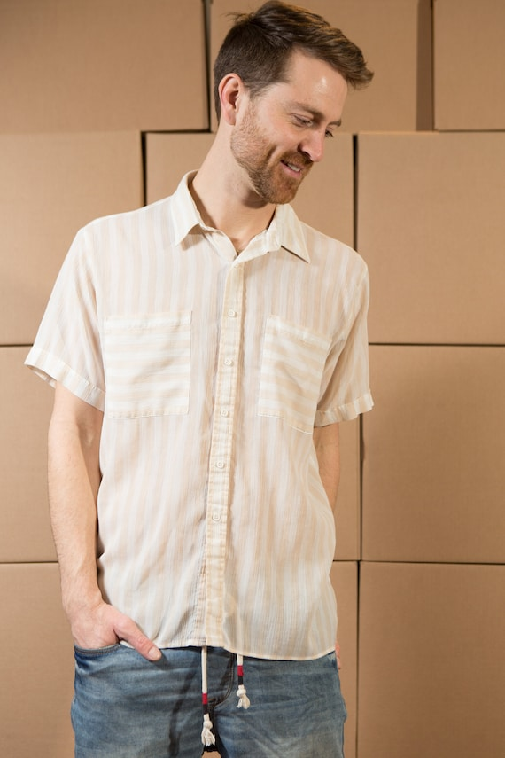 Vintage Striped Shirt - Men's Large Size Button DownShort Sleeve Shirt - Lightweight Summer Shirt with Pockets