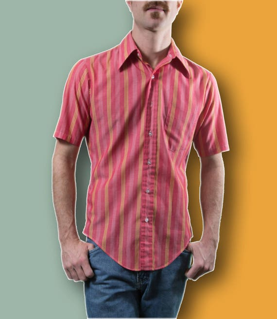 Vintage Mens Stripe Shirt / Small Pink and Yellow Button up Casual Short Sleeved Cowboy Summer Rodeo Shirt / Lean and Lively Manhattan Shirt