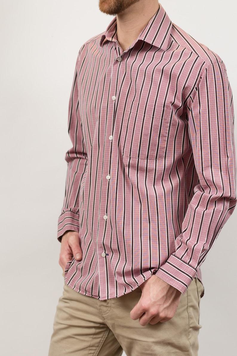 Medium Size Long Sleeved Pink Formal Summer Shirt Vintage Men/'s Striped Shirt Button Down Oxford Pink Harry Rosen Dressy Office Shirt