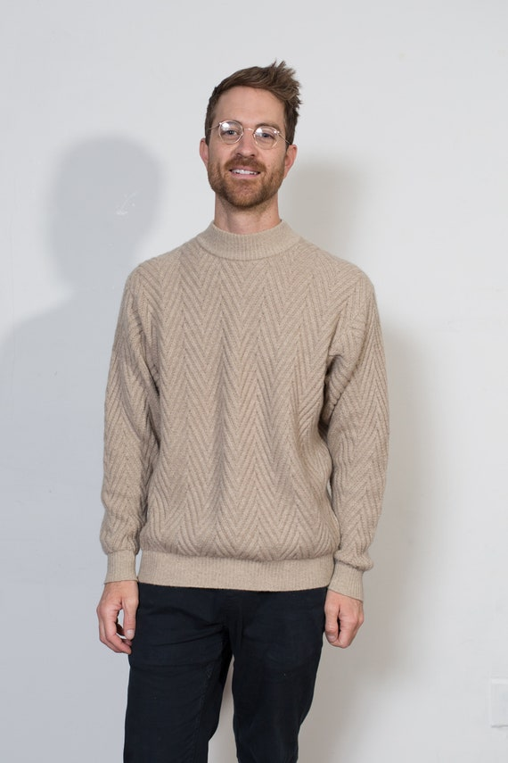 Vintage Knit Cashmere Sweater - Men's Medium Size Light Tan Coloured Solid Chevron Sweater - Retro Long Sleeve Pullover - Beige Jumper