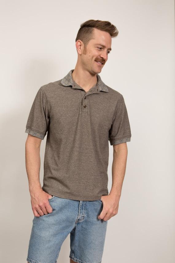Vintage Men's Polo Shirt - Small Size Light Brown Golf Shirt - Italian Made Designer R. Martegani Golf Preppy Skin Colored Shirt