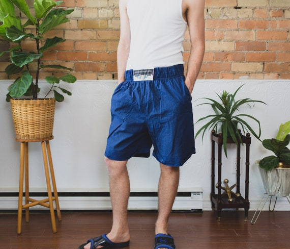 Vintage Beach Shorts - Surf/ Swim Beach Shorts with Elastic Waist - dark Blue Fresh Prince Adjustable Lightweight Men's Trunks