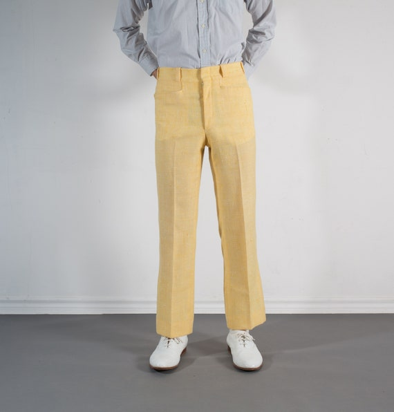 Vintage Mens Yellow Trousers - 31W Dress Pants / Slacks