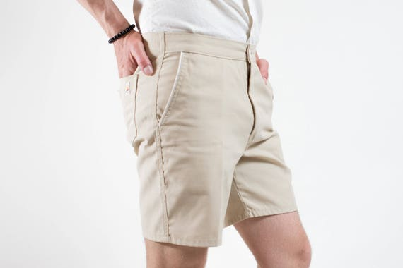 70's Short Shorts / GWG Union Made Surfing Sailboat Shorts / Durable Outdoor Hiking Beige Skinny Shorts / Mens 32 Waist / Made in Canada