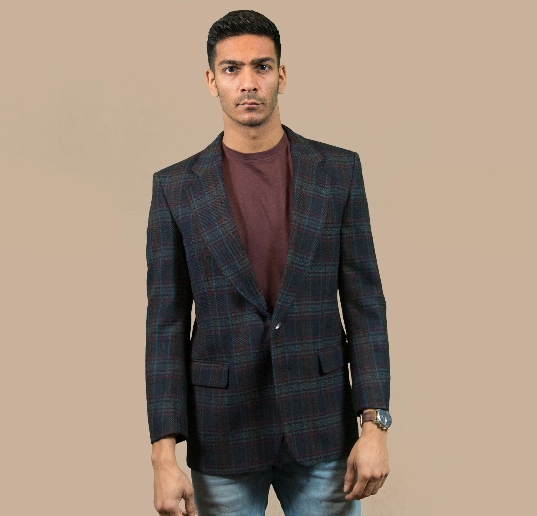 77b217cccc2c Vintage Men s Blazer - Medium Size 38 Ralph Lauren Blue Checkered Plaid  Wool Sports Coat - Union Made