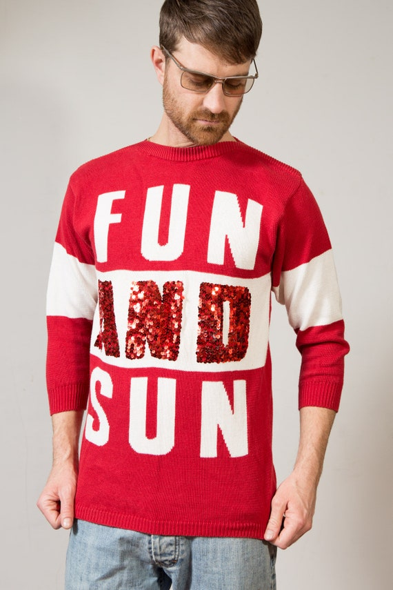 "Vintage Red Sweater - Mens/Women's Medium Cotton Christmas ""Fun and Sun"" Pullover with Sequin - Holiday Jumper"