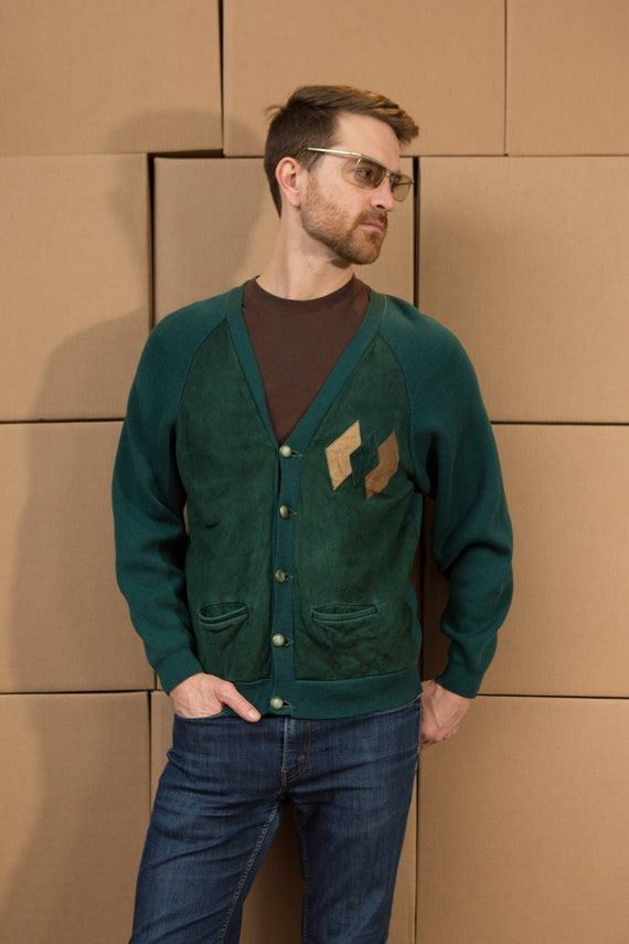 Vintage Men's Green Cardigan - medium Leather and Knit Sweater with Diamond Shapes - Casual Preppy Sporty Golf Button up Grandpa Jumper