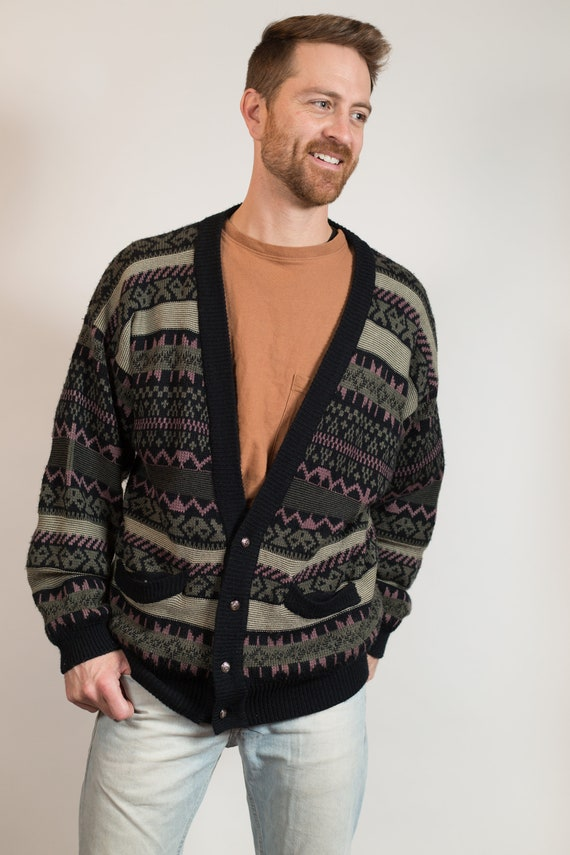 Vintage Geometric Cardigan - Striped Pattern Large Size Green and Yellow Christmas Button Acrylic Jumper for Him - Gift for Dad
