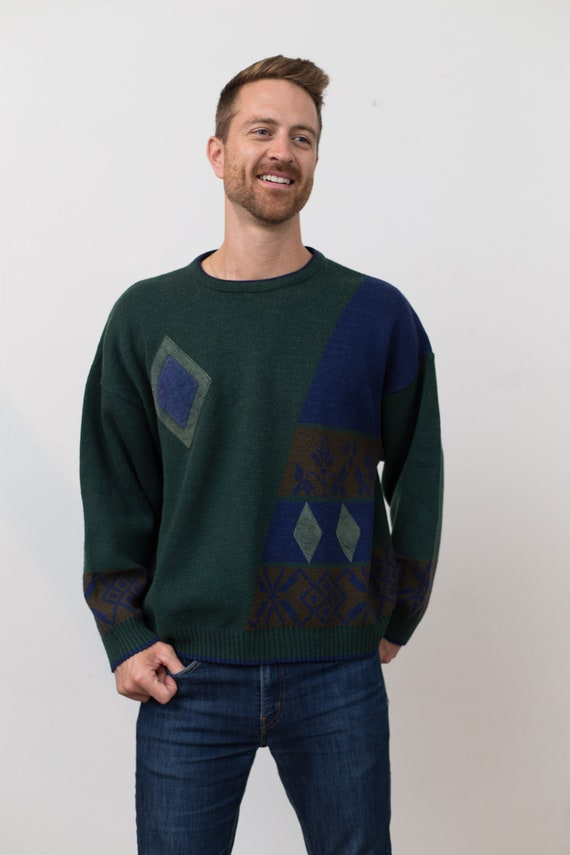 Vintage Men's Sweater - Large Size Green Retro Diamond Shape Geometric Abstract Pullover - Knit Long Sleeved Jumper