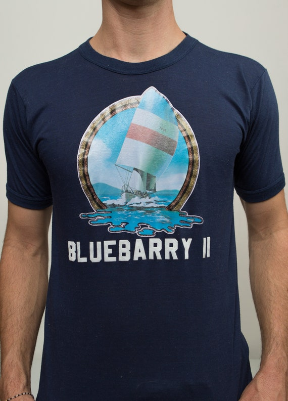 90's Mens Vintage T-Shirt - Medium Bluebarry 2 Sailing Shirt - Nautical Sailboat Tee - Navy Blue Short Sleeved Summer Sports Muscle Shirt