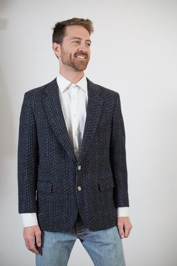 Vintage Mens Blazer - 1980's Grey Wool Tweed Sports Coat -  Biaggiotti Avanti for Big Steel / Pure Virgin Wool Jacket / Made in Canada