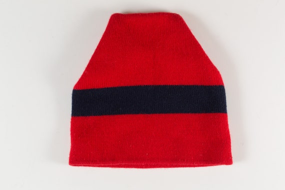 VIntage Winter Hat / Toque - Unisex Men's or Women's Red and Black Stripe Knit Canadian Cap for Snowmobiling, Ice Skating, Snowboarding etc