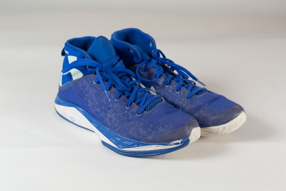 Men's Blue Athletic Shoes - Blue Under Armour Basketball Sneaker Shoes - Size 12 U.S. Men's Hi tops