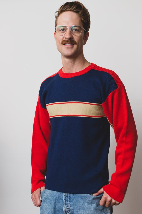 Vintage Men's Sweater - Medium 80's White Stag Pullover - Long Sleeved Red and Blue Striped Jumper