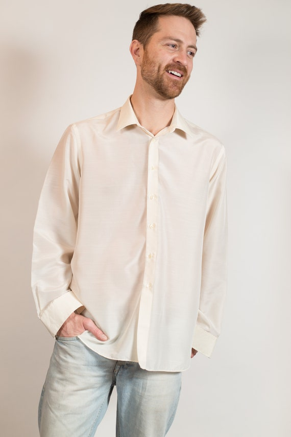 Vintage Men's Formal Button up Shirt - Off-white Large Size Long Sleeved Dress shirt - Office Summer Oxford Shirt