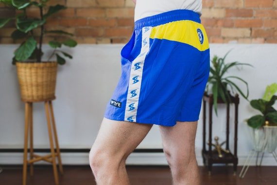 Vintage Lifeguard Shorts - Surf/ Swim Beach Shorts with Elastic Waist - Blue and and Yellow Fresh Prince Adjustable Lightweight Men's Trunks