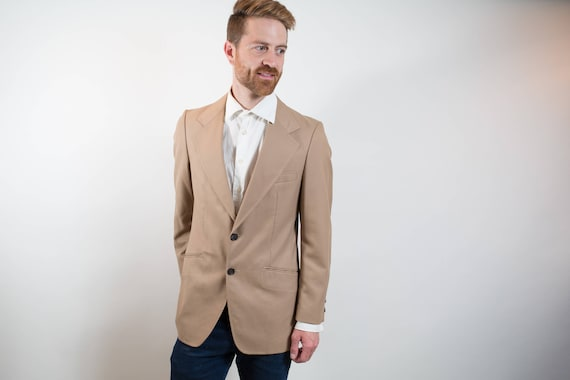 1980's Vintage Mens Medium Camel Beige Sports Coat / Paulo Conti Suit Blazer / Made in Canada